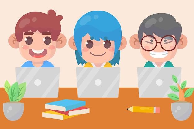 Schattige jongen jongen en meisje met behulp van laptop