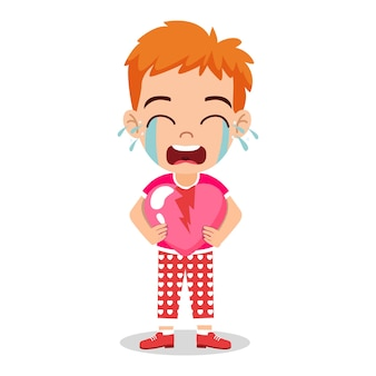 Schattige jongen jongen karakter houden gebroken liefde hart vorm, huilen en staan