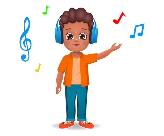 Schattige jongen jongen luisteren naar muziek