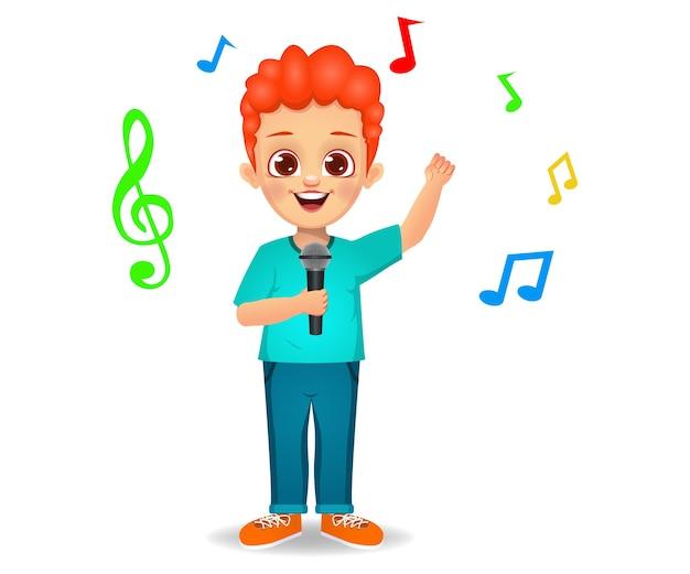 Schattige jongen jongen zingen lied geïsoleerd op wit