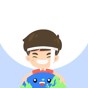 Schattige jongen knuffelen de wereld en glimlach, kawaii mascotte characte ter illustratie