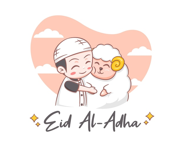 Schattige jongen knuffelen een schaap in eid al adha cartoon illusttration