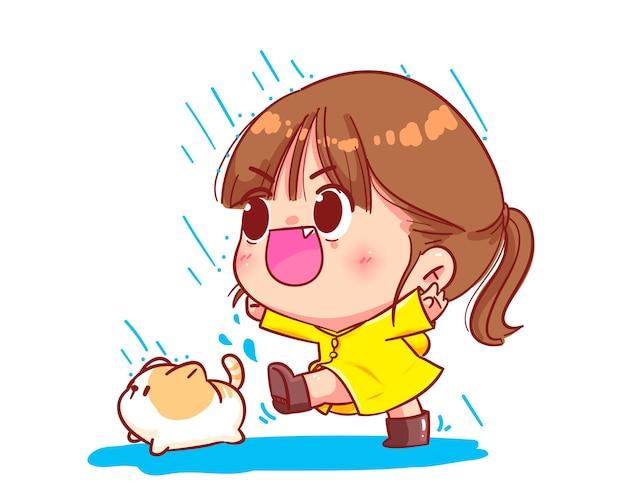 Schattige jongen meisje draagt regenjas cartoon kunst illustratie