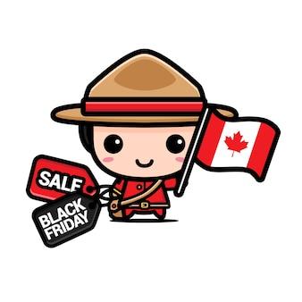 Schattige jongen met canada vlag en zwarte vrijdag kortingsbon
