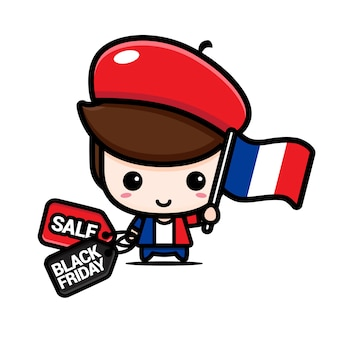 Schattige jongen met nederlandse vlag en zwarte vrijdag kortingsbon