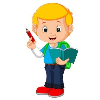 Schattige jongen met rugzak cartoon