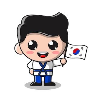 Schattige jongen met vlag van shout korea cartoon afbeelding