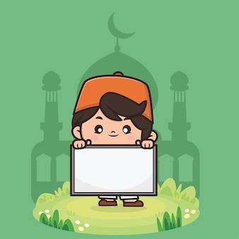 Schattige jongen moslim ramadan cartoon afbeelding