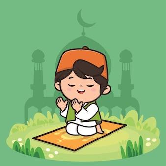 Schattige jongen moslim ramadan karakter illustratie
