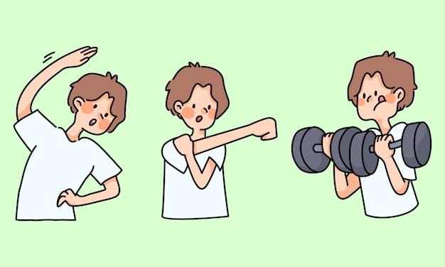 Schattige jongen oefenen gezond uit te rekken leuke cartoon activiteiten
