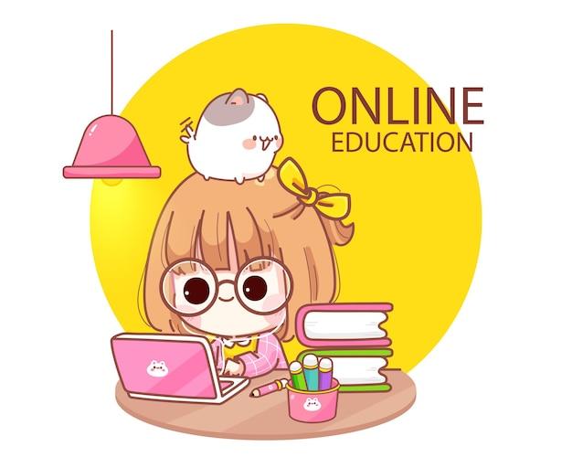 Schattige jongen online studeren met computer laptop cartoon afbeelding