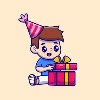 Schattige jongen open verjaardag cadeau cartoon pictogram illustratie.