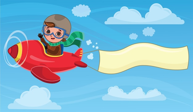 Schattige jongen piloot vliegt op een rood vliegtuig met een banner cartoon vectorillustratie