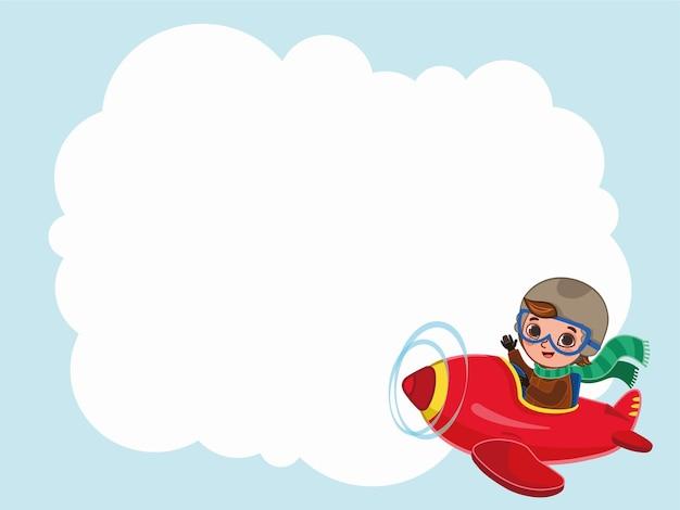 Schattige jongen piloot vliegt op een rood vliegtuig met een label cartoon vectorillustratie