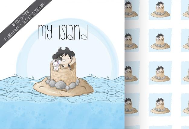 Schattige jongen piraten op het eiland naadloze patroon