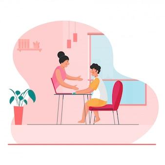Schattige jongen praten met meisje van videobellen in laptop thuis op roze en witte achtergrond.