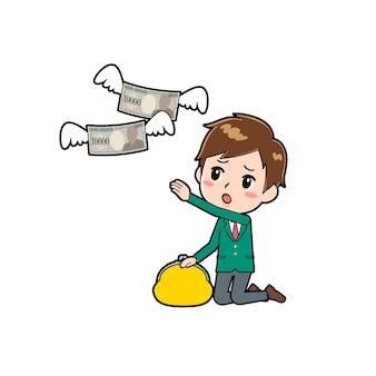 Schattige jongen stripfiguur met een gebaar van geld uitgave.