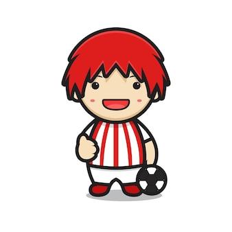 Schattige jongen stripfiguur met voetbal kostuum en goede pose