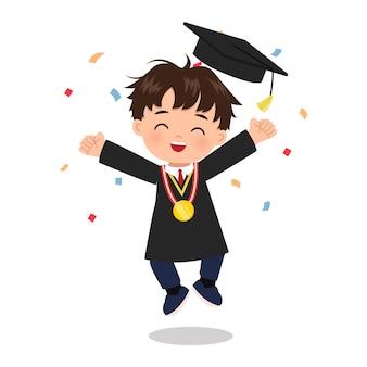 Schattige jongen viert afstuderen met confetti school illustraties platte vector cartoon design