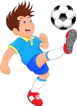 Schattige jongen voetballer