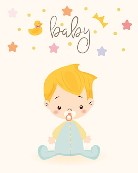 Schattige jongen voor baby shower uitnodigingskaartsjabloon