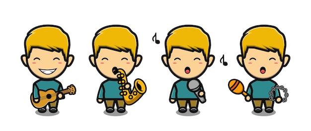 Schattige jongen zingen en spelen gitaar mascotte tekenfilm set