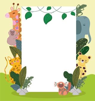 Schattige jungle dieren cartoon