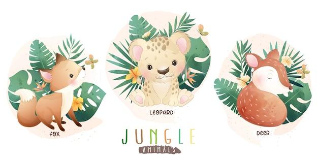 Schattige jungle dieren met bloemencollectie
