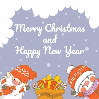 Schattige kabouter en sneeuwpop met kerst- en nieuwjaarsgroetbanner