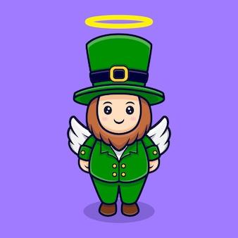 Schattige kabouter hebben wing cartoon karakter saint patrick's day