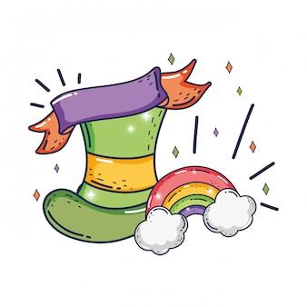 Schattige kabouter hoed en regenboog