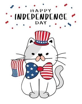 Schattige kat 4 juli onafhankelijkheidsdag met uncle sam-hoed en amerikaanse vlag