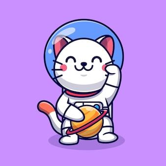 Schattige kat astronaut met planeet cartoon vector pictogram illustratie. dierlijke wetenschap pictogram concept geïsoleerd premium vector. platte cartoonstijl