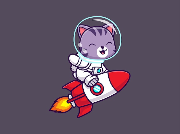 Schattige kat astronaut raket rijden