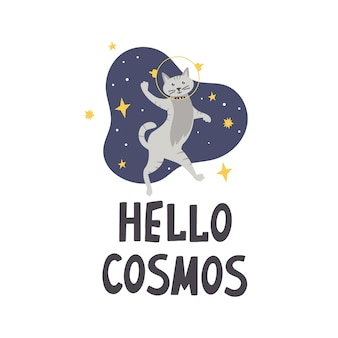 Schattige kat astronaut ruimte belettering hallo kosmos