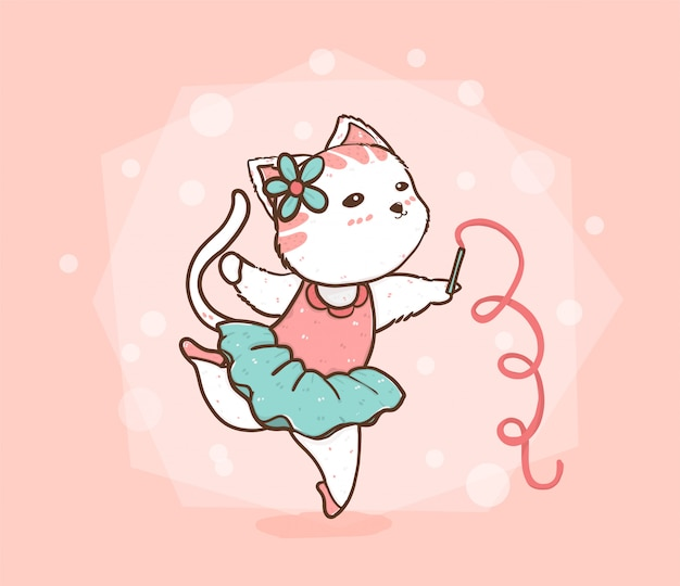 Schattige kat ballet dansen in roze en blauw groene jurk