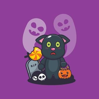 Schattige kat bang door geest in halloween-dag schattige halloween-cartoonillustratie