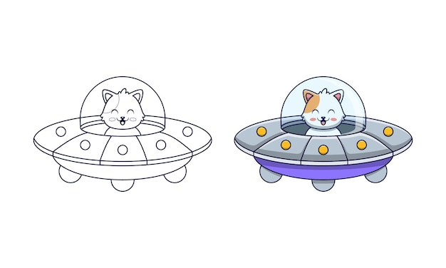 Schattige kat besturen van een vliegende schotel cartoon kleurplaten voor kinderen