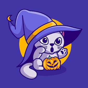 Schattige kat binnen pompoen halloween vector illustratie cartoon icoon