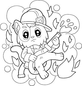 Schattige kat brandweerman kleurboek