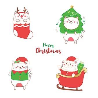 Schattige kat cartoon hand tekenen voor eerste kerstdag.