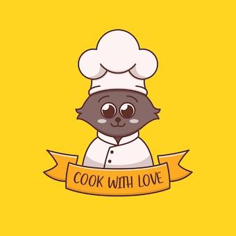 Schattige kat chef-kok logo concept illustratie