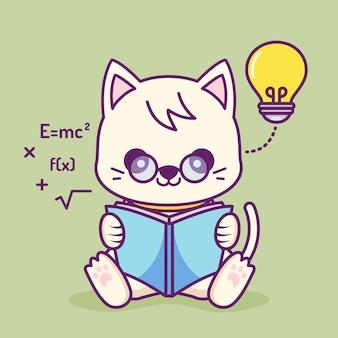 Schattige kat die een boek leest