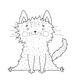 Schattige kat die lacht met grote smekende ogen, grappige en pluizige schattige kittenmascotte