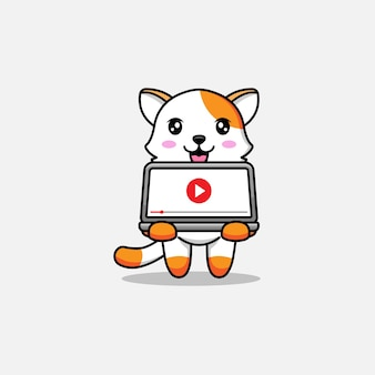 Schattige kat die video afspeelt op laptop