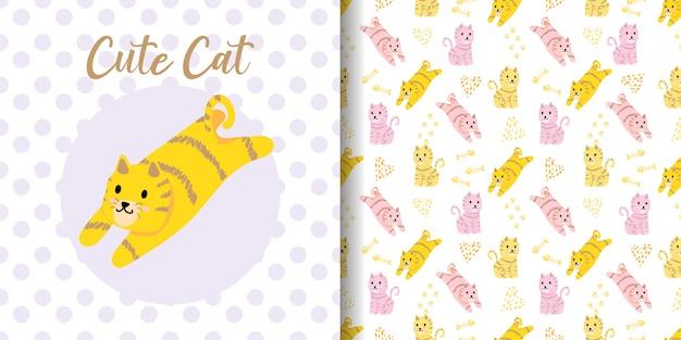Schattige kat dieren naadloze patroon met baby kaart