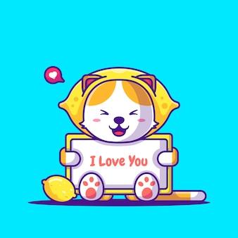 Schattige kat dragen citroen kostuum met tekst ik hou van je cartoon afbeelding. dierlijk plat cartoonstijlconcept