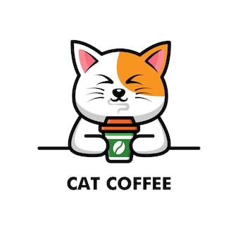 Schattige kat drink koffiekopje cartoon dier logo koffie illustratie