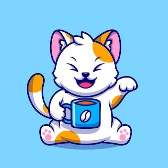 Schattige kat drinken koffiekopje cartoon pictogram illustratie. animal drink icon concept geïsoleerd. platte cartoon stijl
