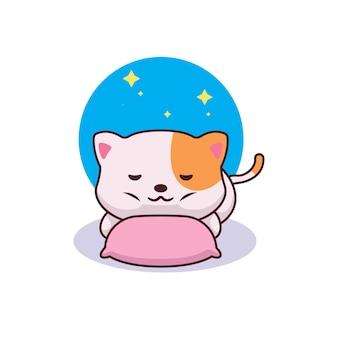 Schattige kat dromen karakter illustratie